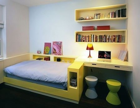 More clever built-ins to maximise space. Cute!