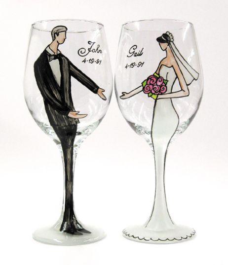 handpainted wine glasses bride groom bridesmaids