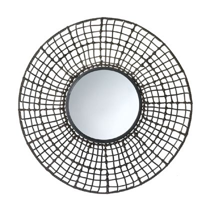 If your wall needs a pop of pizzazz that will fit your decor now and as your style changes, this is it! This circular wall mirror has an intricate wire mesh outer frame wrapped and knotted with rattan-like material that is visually interesting, textural, and stunning. It's the perfect finishing touch for your room. www.mysouthernhomeplace.com
