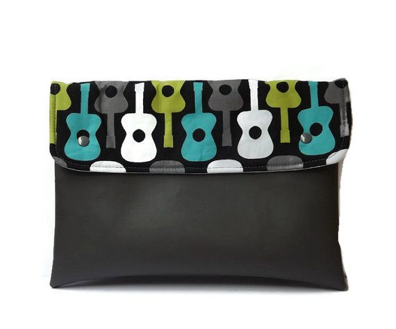Guitar vegan clutch/ grey vegan leather clutch/ by Monalinebags