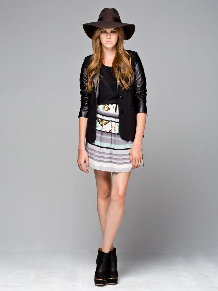 The Breeze Silk Skirt, On Point Silk Tank, Black Leather Barista Love Blazer