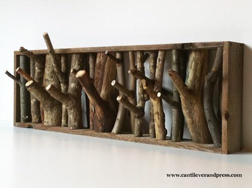 coat rack from tree limbs.