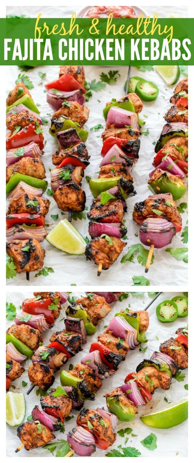 Easy Grilled Fajita Chicken Kebab Recipe! Awesome summer dinner idea.