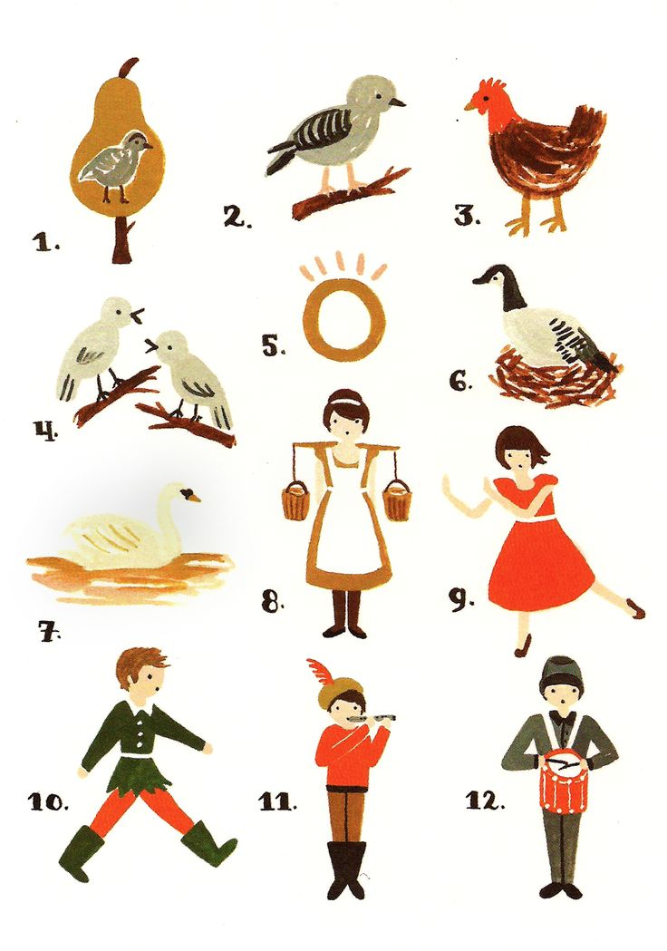 rifle paper co. 12 days of xmas card...  1.A partridge in a pear tree!  2.Two turtle doves,  3.Three French hens,  4.Four calling birds,  5.Five golden rings,  6.Six geese a-laying,  7.Seven swans a-swimming,  8.Eight maids a-milking,  9.Nine ladies dancing,  10.Ten lords a-leaping,  11.Eleven pipers piping,  12.Twelve drummers drumming,