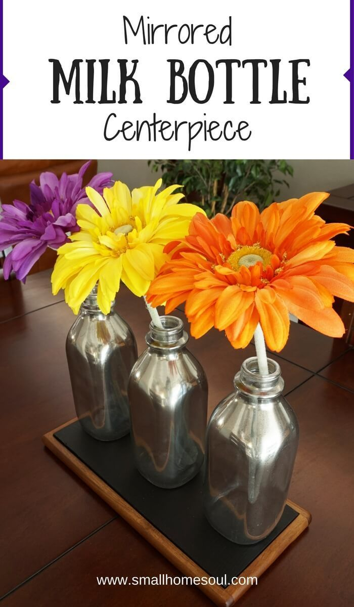 These mirrored milk bottles are a fast DIY project for beautiful home decor. Great for flowers or just on display.