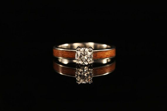 gorgeous 14K White Gold Engagement Ring with Ancient  Kuari Wood Inlay by chasingvictory