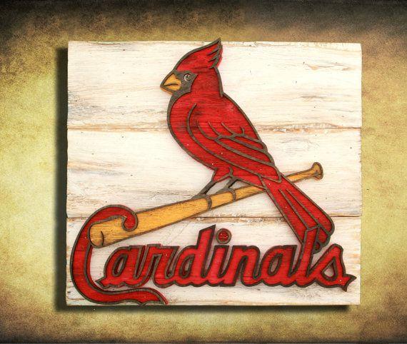 St Louis Cardinals Man Cave Ideas : Saint louis cardinals handmade distressed wood sign