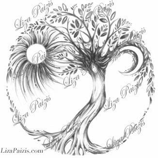 Tree of Life Tattoo original design by Liza Paizis  TattooMagic on Etsy with Sun & Moon