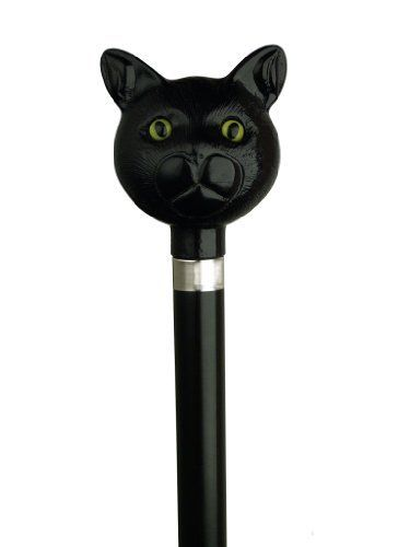 """Walking Cane - Catatude black cat head handle set on black hardwood shaft with silver ring. 36 in length by King of Canes. $56.99. Walking Cane - Catatude black cat head handle set on black hardwood shaft with silver ring. 36"""" in length. Save 36% Off!"""