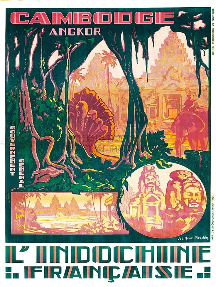TRAVEL CAMBODIA INDOCHINA ANGKOR WAT TEMPLE FRANCE ART PRINT POSTER AFFICHE 30X40 CM 12X16 IN BB8419B