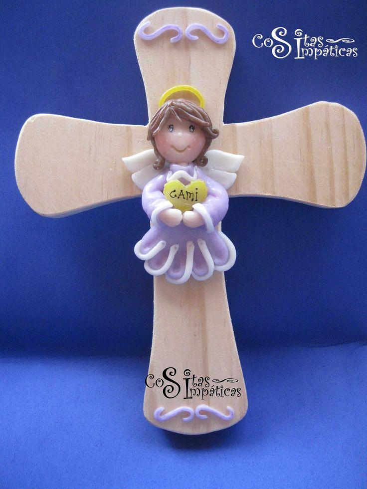 Angel de la guarda en porcelana fría.  Hecho a mano por Cositas Simpáticas ^_^