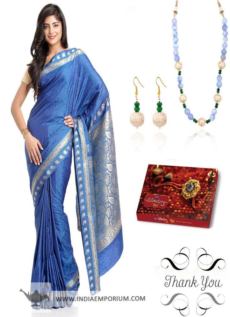 Blue Art Silk Saree & Matching Necklace Set Hamper For #Sister  #Rakhi  #RakshaBandhan