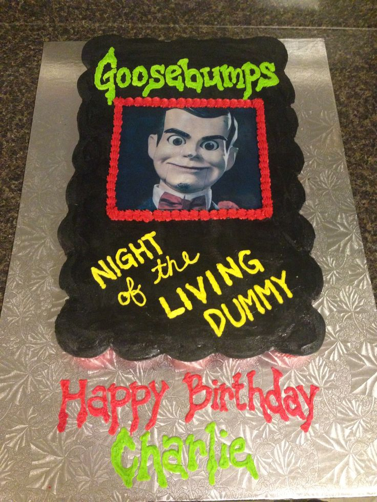 Goosebumps Night of the Living Dummy cupcake cake
