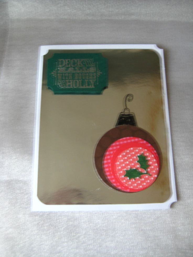 Stampin Up sentiment, brown, patterned and MS holly punch variation on a theme ornament card