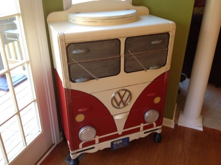 VW Bus Dresser Furniture Chest Working Headlights | eBay  | pinned by http://www.wfpblogs.com/category/toms-blog/