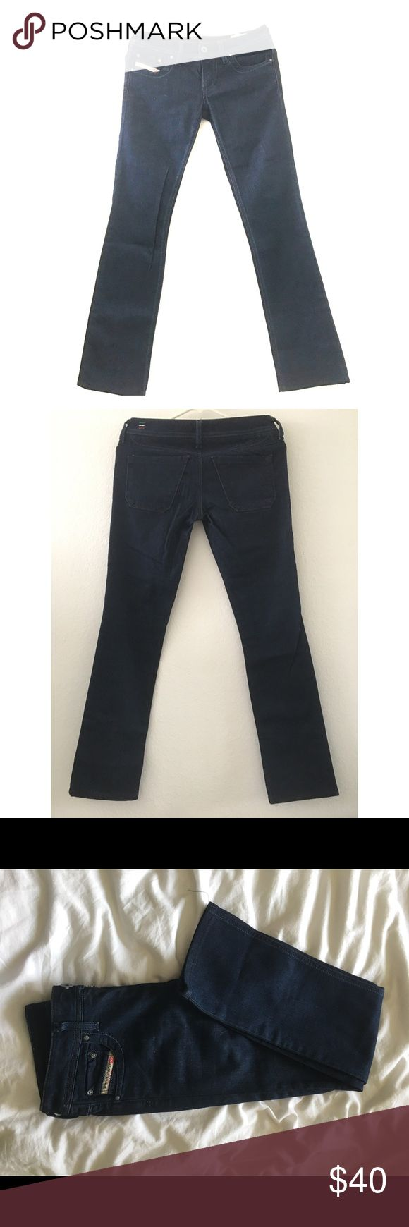 Diesel Dark Blue Jeans Like New Diesel brand jeans Stretch dark blue, like new; simple, classic jeans width 25, length 32, 80%cotton20%spandex Diesel Jeans