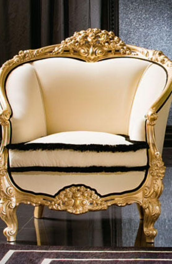Perfect Luxury Upholstered Arm Chair . Gold Black White +++meod