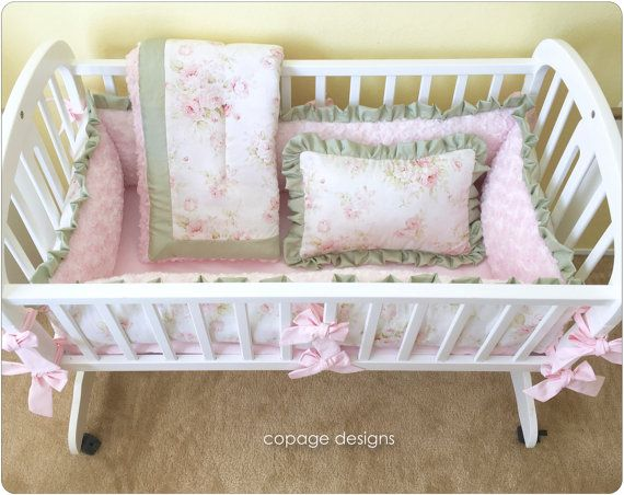 Pink Floral SHABBY CHIC Baby Cradle Bedding Set  by copagedesigns