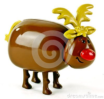 Plastic toy reindeer with big bright red nose on a white background