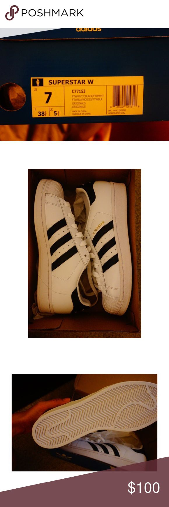 White and black adidas ! (Superstar) BRAND NEW, never worn at all! White and black superstar adidas. Size 7. OBO Adidas Shoes Sneakers