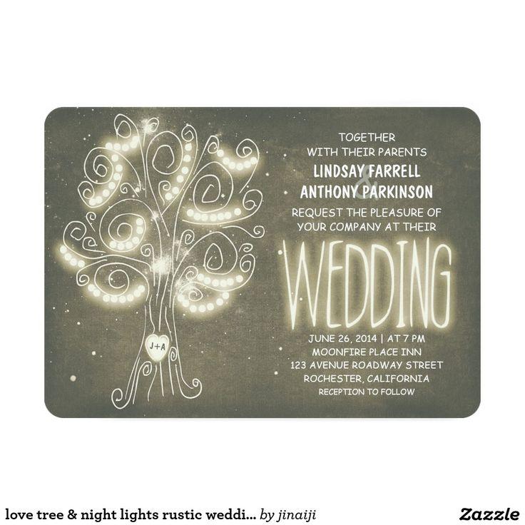 愛木及び夜ライト素朴な結婚式招待状 12.7 X 17.8 インビテーションカード                                                                                                                                                     もっと見る