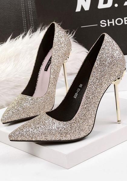 Light Golden Point Toe Stiletto Sequin Fashion High-Heeled Shoes