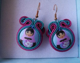 Soutache earrings with buttons handmade and small Swarovski crystals