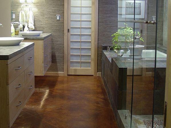 polished concrete floors bathrooms walk in shower glass walls modern vanity cabinets