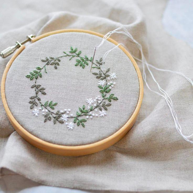 plant embroidery hoop art