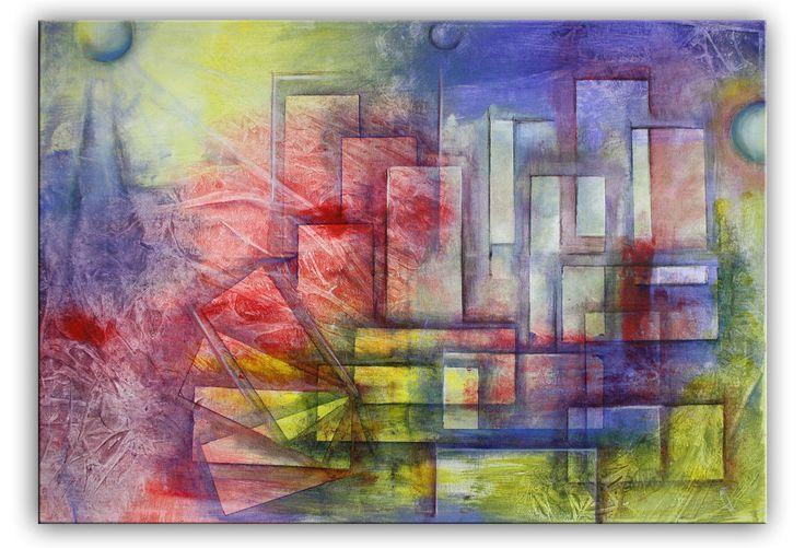 BURGSTALLER Stadt Bild lila rot gelb buntes abstraktes Wandbild XXL Acrylbild