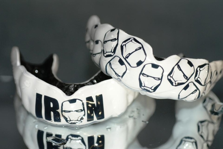 Iron man mouth guards black and white