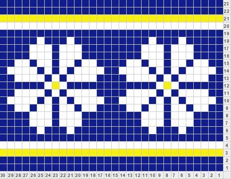 Simple Flower/Snowflake blue-dk grey or purple, white - dk grey or purple, yellow - lt grey