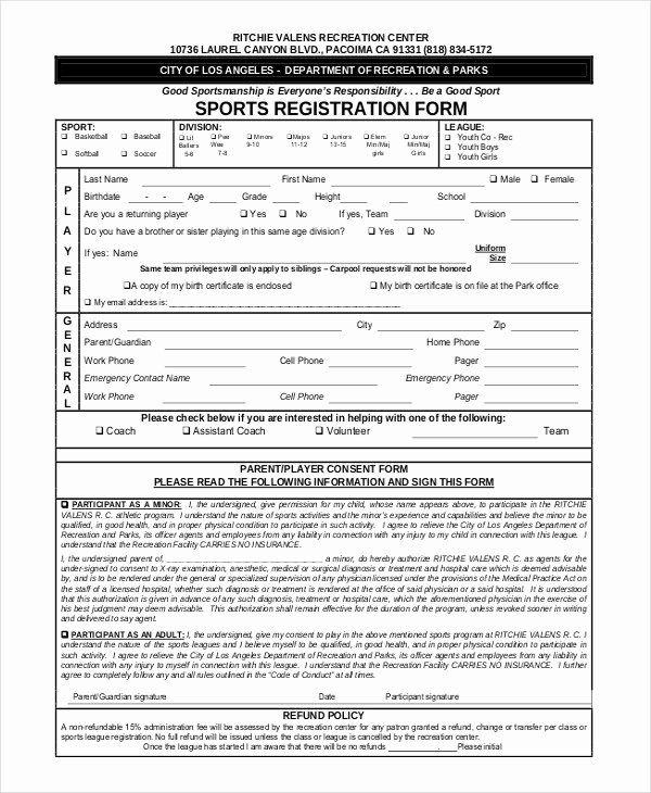 Free Registration Form Template Fresh Sports Registration Forms Template Free Download Registration Form Online Registration Form School Newsletter Template