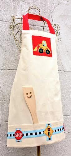 BOYS APRON Kids Designer Apron Cotton Canvas by VintageFromChris
