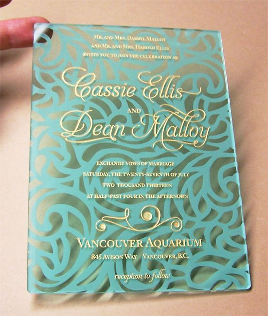 This is a beautiful water themed acrylic invitation!! Gold and teal are the best.   #wedding #invitation #acrylic #acrylicinvitations #gold #teal #invite #event #bride #engaged