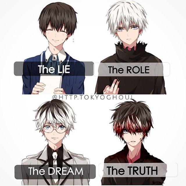 So there Ken is, normal, then he got tortured and his hair turned white. Then at the end, he ends up working for the Doves, and his roots come through, but in the end...IDK he was always a crazy ghoul?