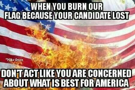 When you burn our flag because your candidate lost, don't act like you are concerned what is best for America.