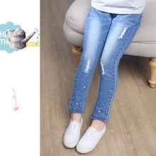 Los niños de la marca de alta calidad pantalones vaqueros de las muchachas 2017 de Primavera y Otoño pantalones de los niños de Diamante más tamaño venta caliente(China)