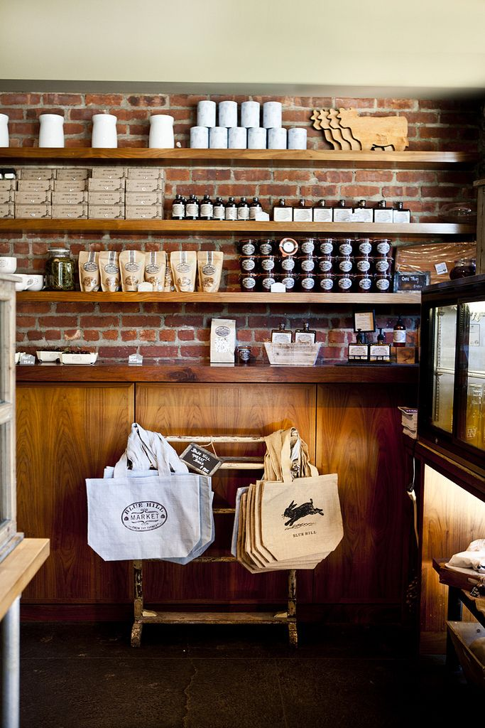 High Shelves. Use every bit of space!!!!  Blue Hill Farms - Cafe style shelves