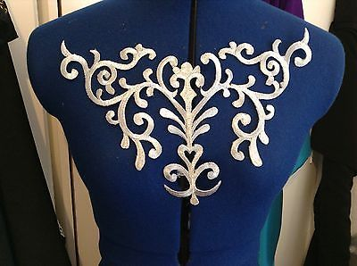 metallic Silver embroidery patch lace applique venise yoke dress dance costume