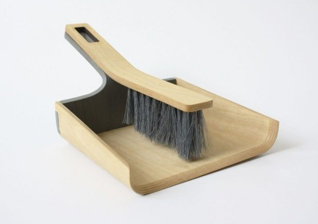 Alfred broom and dustpan: bent plywood connected by magnets //