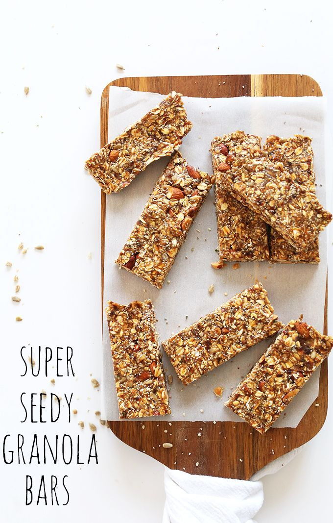Super Seedy Granola Bars! Naturally sweetened and packed with flax, chia, sunflower and hemp seeds! #vegan #glutenfree