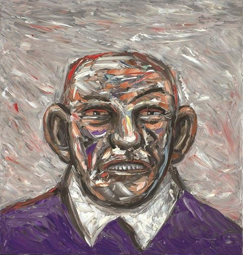 Painting (Man in purple jumper) by Peter Booth