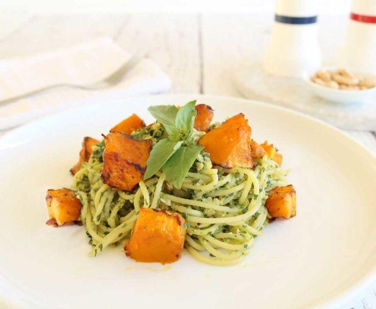 Pumpkin Cashew Pesto Pasta - a healthy everyday dinner