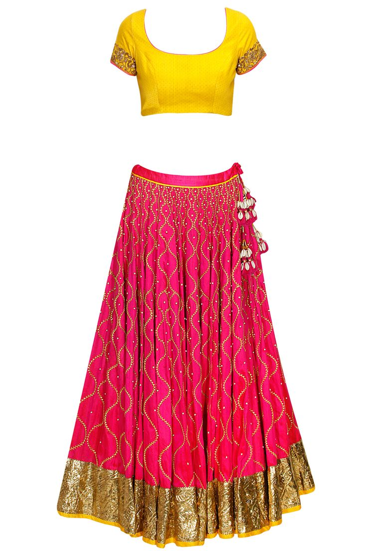 Rani pink and yellow jaal embroidered lehenga set available only at Pernia's Pop-Up Shop.