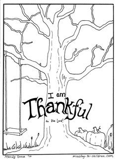"FREE tree coloring page has the words ""I am thankful to the Lord."" It has bare tree branches, pumpkins, and a child's swing. The second page has leaves where children can write in things for which they are thankful."