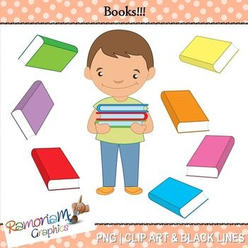 """Free """"Books"""" Clipart. 18 PNG images, each is 300dpi in Black & White, colored with colored outlines and colored with black outlines"""