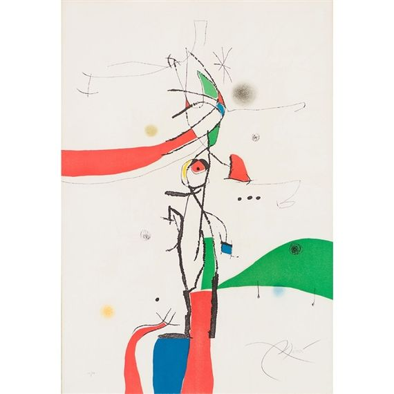 Artwork by Joan Miró, Demi Mondaine À Sa Fenêtre (D.742), Made of Etching and Aquatint in colors on wove paper