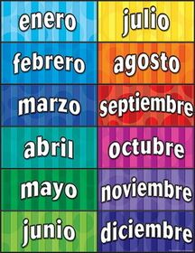 TEACHER CREATED RESOURCES Months Of The Year Spanish Chart , Price/EA