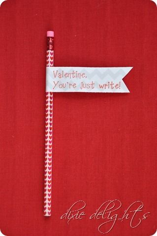 """You're just write"" pencil Valentine's with free printable flags"